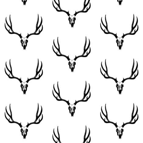 Deer Skull // Small fabric by thinlinetextiles on Spoonflower - custom fabric