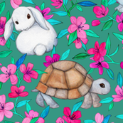Tortoises, Baby Bunnies and Blossoms on Deep Teal Green