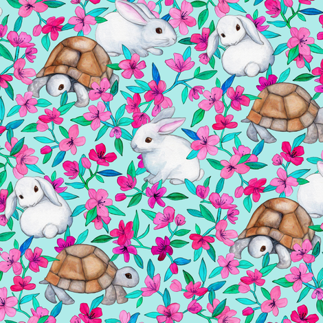 Tortoises, Baby Bunnies and Blossoms on Light Turquoise fabric by micklyn on Spoonflower - custom fabric