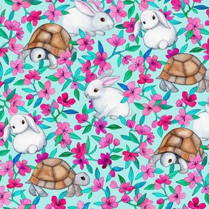 Tortoises, Baby Bunnies and Blossoms on Light Turquoise