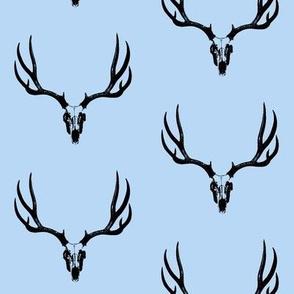 Deer Skulls on Blue // Large