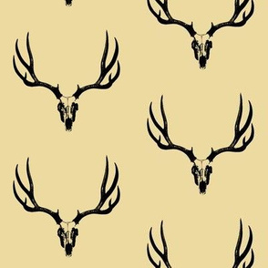 Deer Skulls on Tan // Large