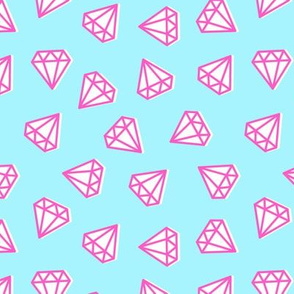 diamonds - pink on blue
