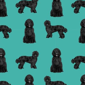 labradoodle fabric - cute black labradoodles design