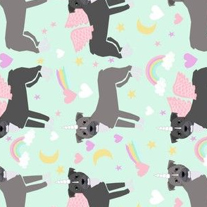 pitbull unicorn fabric - pastel rainbow cute pitbulls pegasus - light mint (railroad)