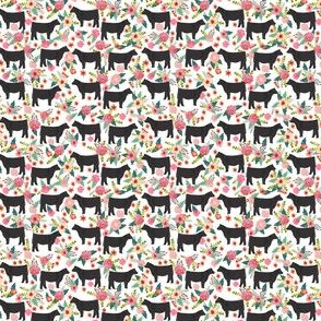show steer floral fabric - black cattle and florals fabric - TINY