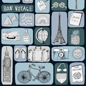 travel // eiffel tower pyramids vacation destinations fabric navy
