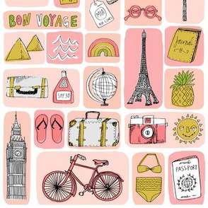 travel // eiffel tower pyramids vacation destinations fabric pinks