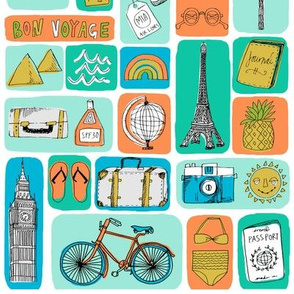 travel // eiffel tower pyramids vacation destinations fabric bright