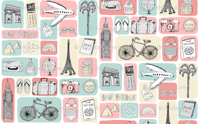 travel // eiffel tower pyramids vacation destinations fabric pink blue
