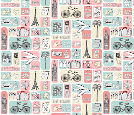 travel // eiffel tower pyramids vacation destinations fabric pink blue fabric by andrea_lauren on Spoonflower - custom fabric
