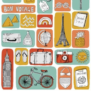 travel // eiffel tower pyramids vacation destinations fabric blue red