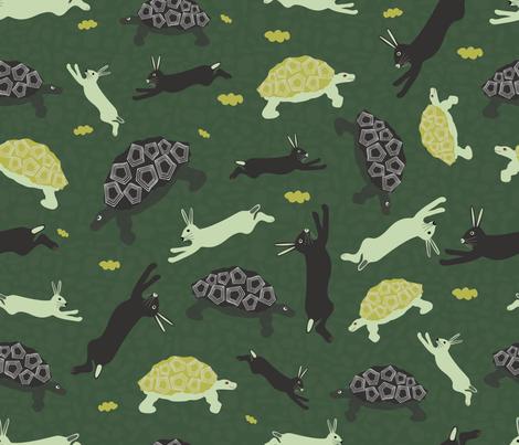 tortoise and hare fabric by pixels_in_het_groen on Spoonflower - custom fabric