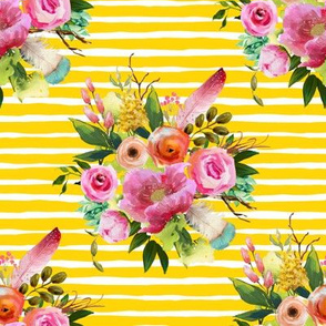 "8"" Summer Teepee Florals Offset - Yellow Stripes"
