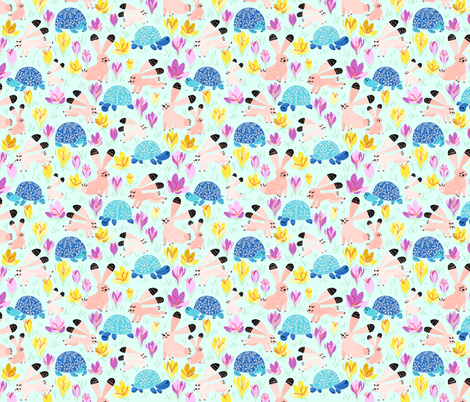 Spring with Tortoise and Hare (mint) fabric by helenpdesigns on Spoonflower - custom fabric