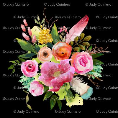 """4"""" Summer Teepee Florals - Black"""