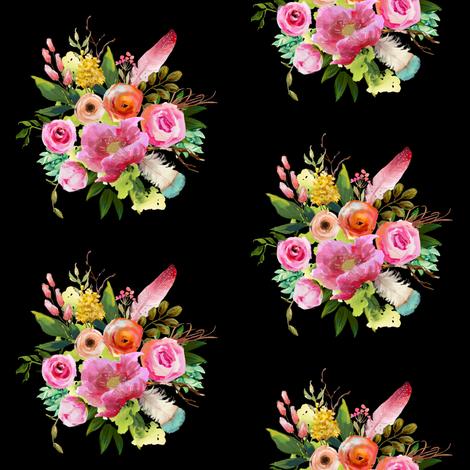 "4"" Summer Teepee Florals - Black fabric by shopcabin on Spoonflower - custom fabric"