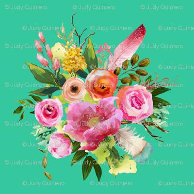 "8"" Summer Teepee Florals - Teal"