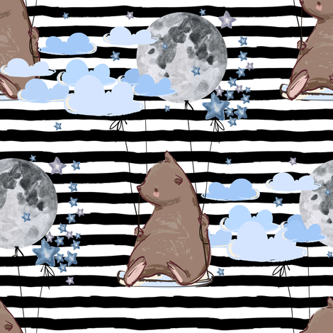 "8"" Sky is the Limit Bear - Black Stripes fabric by shopcabin on Spoonflower - custom fabric"
