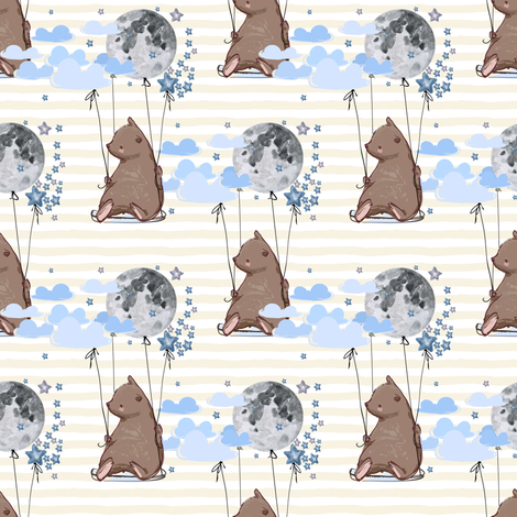 """4"""" Sky is the Limit Bear - Ivory Stripes fabric by shopcabin on Spoonflower - custom fabric"""