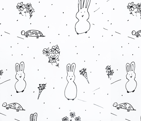 Tortise and Hare Hearts  fabric by lyndis on Spoonflower - custom fabric
