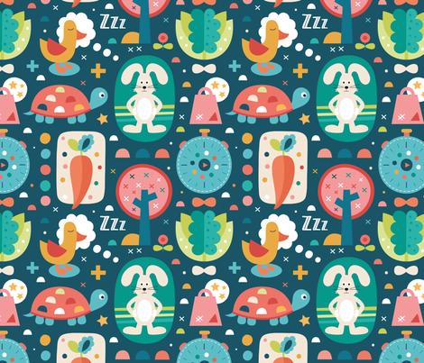 lievre_tortue fabric by la_fabriken on Spoonflower - custom fabric