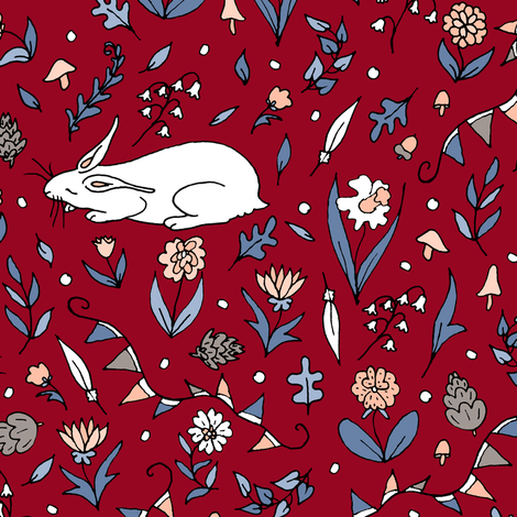The Hare Was Sleeping fabric by pond_ripple on Spoonflower - custom fabric