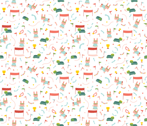 Turtle and Bunny fabric by desi_draws on Spoonflower - custom fabric