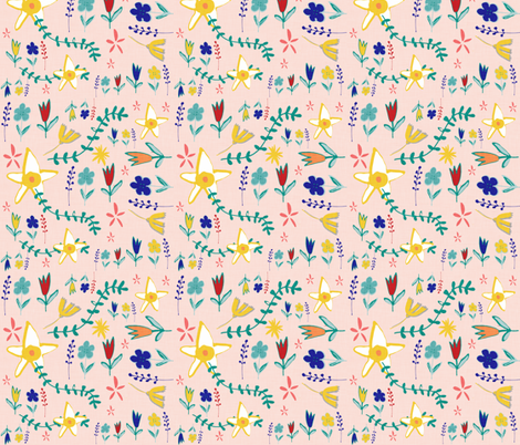 Tortoise and the hare floral pink fabric by bruxamagica on Spoonflower - custom fabric