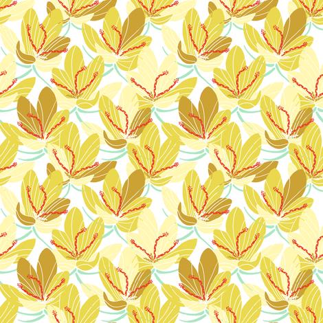 Yellow Crocus Joy (white) fabric by helenpdesigns on Spoonflower - custom fabric