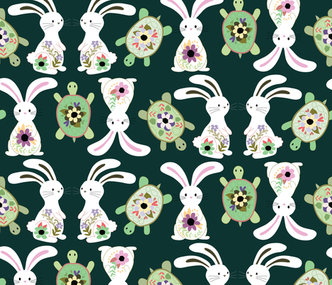 Tortoise and Hare fabric by cynla on Spoonflower - custom fabric