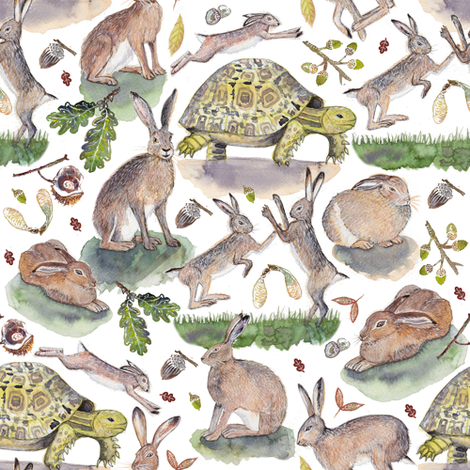 THE TORTOISE AND THE HARE fabric by katecruise on Spoonflower - custom fabric