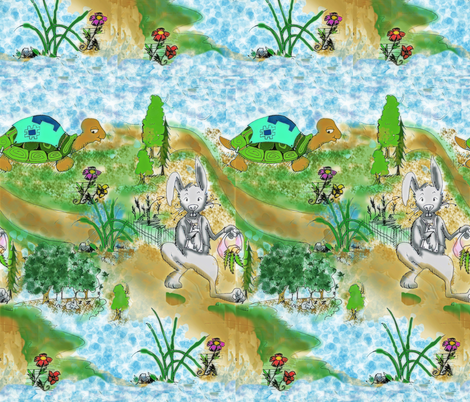 Tortoise n Hare2 fabric by lil_chick_ent_ on Spoonflower - custom fabric
