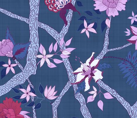 Peony Branch plum and red on Blue fabric by danika_herrick on Spoonflower - custom fabric