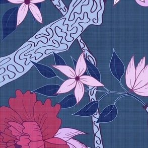 Peony Branch plum and red on Blue