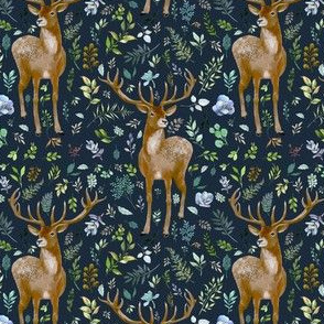 "4"" Deer Summer Foliage - Dark Blue"