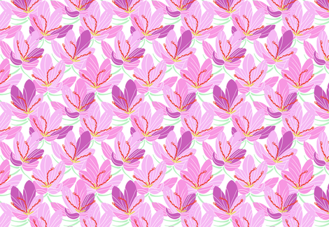 Pink Lavender Crocus Joy (white) fabric by helenpdesigns on Spoonflower - custom fabric