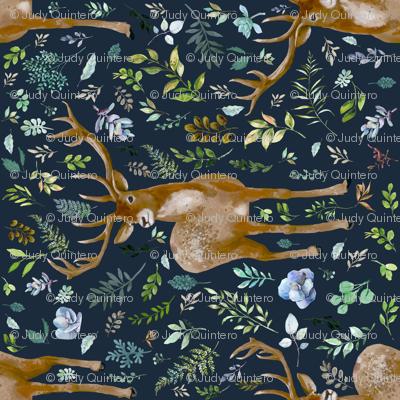 "21"" Deer Summer Foliage - Dark Blue 90 Degrees"