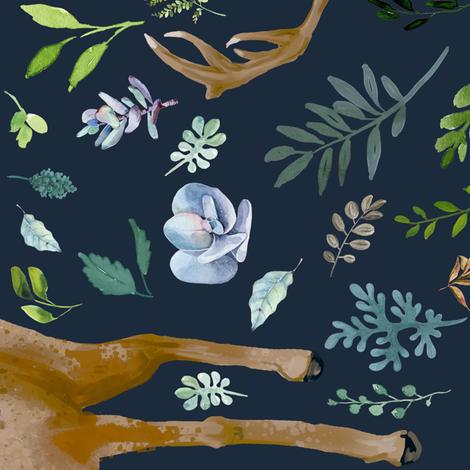 "21"" Deer Summer Foliage - Dark Blue 90 Degrees fabric by shopcabin on Spoonflower - custom fabric"
