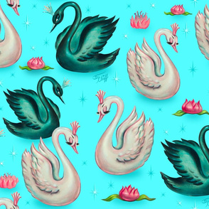 Swans with Tiaras- Blue-LARGE