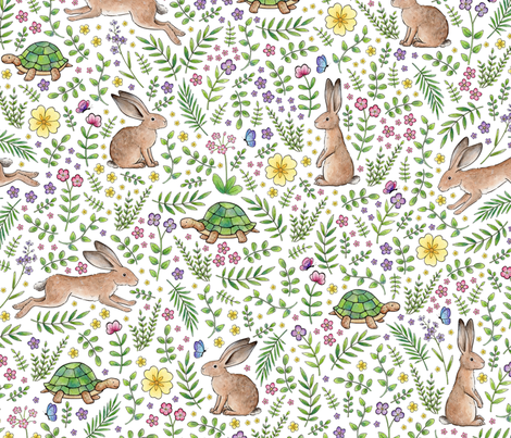Spring Time Tortoises and Hares fabric by hazelfishercreations on Spoonflower - custom fabric