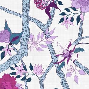 Peony Branch Mural Aqua, Magenta and Lilac