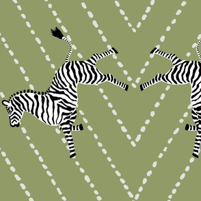 Custom Zebras on Olive Diamond Dash