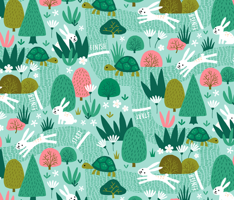 Spring Race Tortoise and Hare fabric by heleen_vd_thillart on Spoonflower - custom fabric
