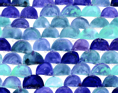 Watercolor fish scale - blue