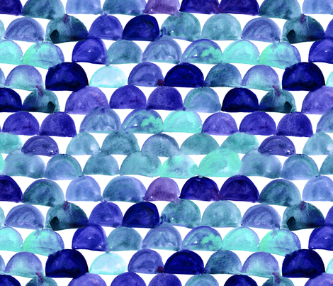 Watercolor fish scale - blue fabric by aliceelettrica on Spoonflower - custom fabric