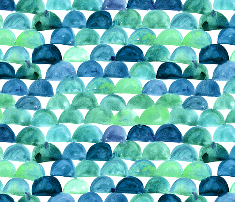 Watercolor fish scale - aqua fabric by aliceelettrica on Spoonflower - custom fabric