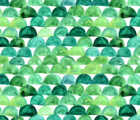 Watercolor mermaid scales - green fabric by aliceelettrica on Spoonflower - custom fabric