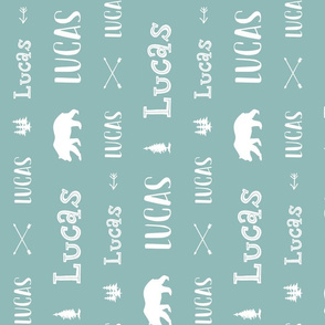 Woodland Boys Personalized Name // Turquoise - Lucas