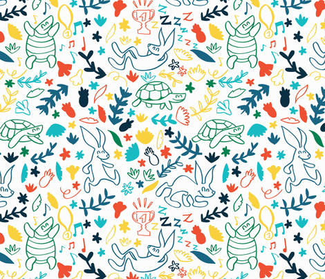 The tortoise and the hare story fabric by natalia_gonzalez on Spoonflower - custom fabric